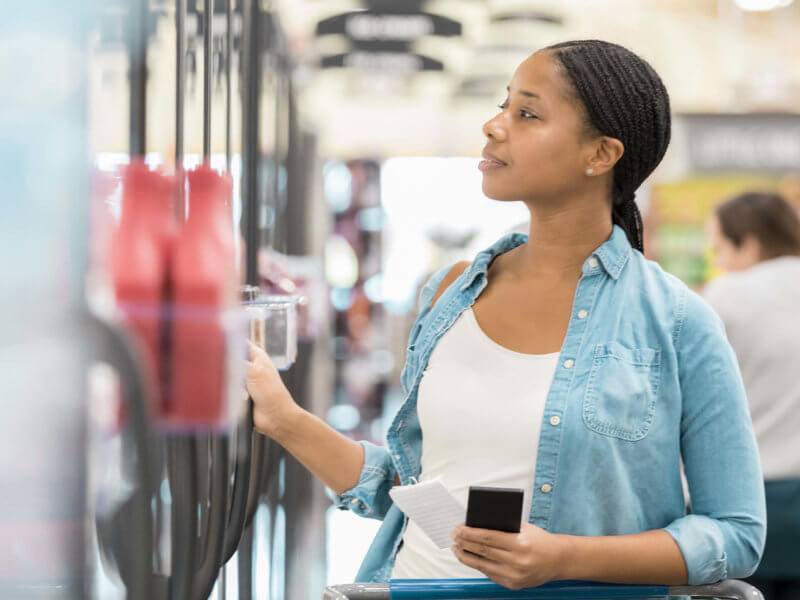 Young Mother Grocery Shopping Looking Products Fridge